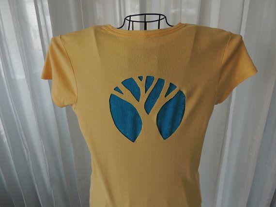 Giallo barrato Tshirt tagliare albero Top Ladies di MaAndPaPeddle