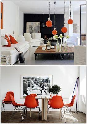 Le trio d'Orange, le Blanc et le Noir dans vos maisons ~ Décor de Maison / Décoration Chambre