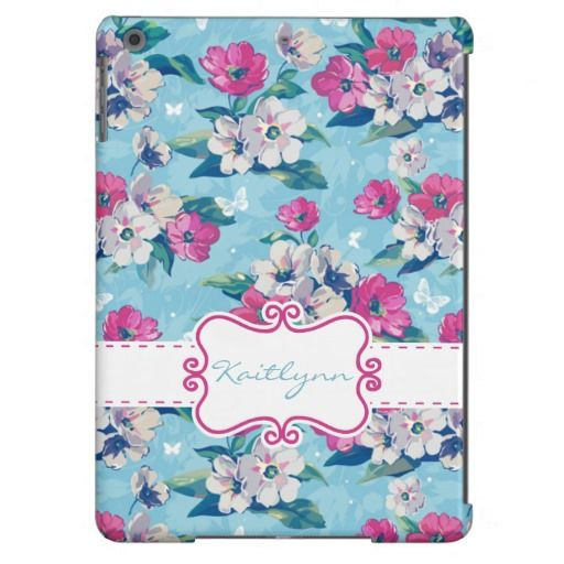 Blue Vintage Floral iPad Air Case with custom text