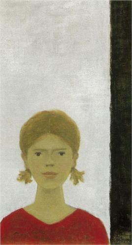 """""""Jeune fille au chandail rouge"""" -Jean Paul Lemieux"""