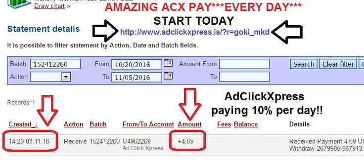 Here is my Withdrawal Proof from AdClickXpress. I get paid daily and I can withdraw daily. Online income is possible with ACX, who is definitely paying - no scam here.  Join now: http://www.adclickxpress.is/?r=goki_mkd  Date: 03.11.2016 (14:23h) To Pay Processor Account: U5301307 Amount: 4.69 Currency: USD Batch: 152412260 Memo: API Payment. Ad Click Xpress Withdraw 2679985-567913  THE BEST ONLINE BUSINESS IN THE WORLD...(ACX)!!! Join now: http://www.adclickxpress.is/?r=goki_mkd