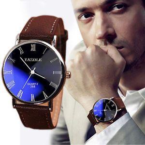 2016 Black Blue Dial Waterproof Leather Mens Watch Quartz Analog Wrist Watches   eBay