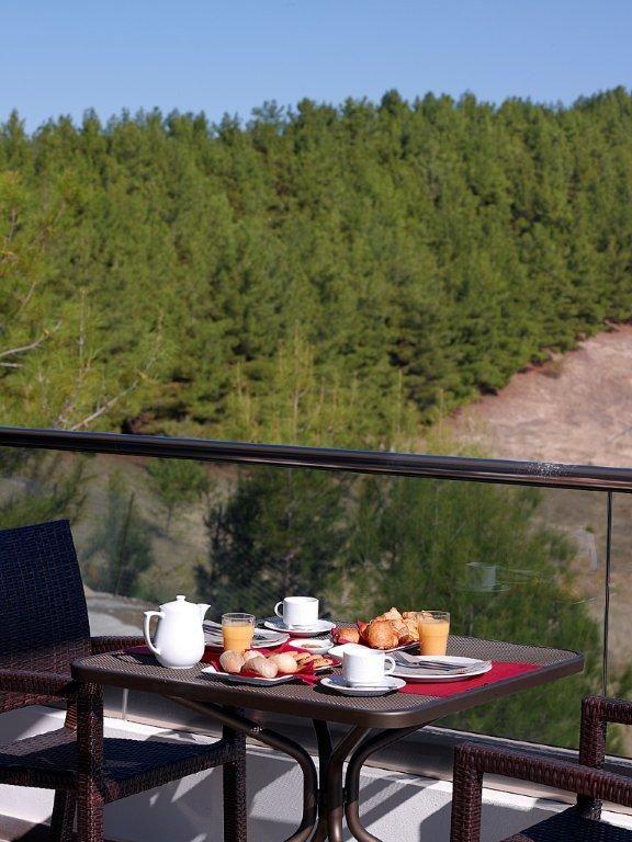 Breakfast with breathtaking view at Ananti City Resort, in Trikala. http://www.tresorhotels.com/en/hotels/25/ananti-city-resort