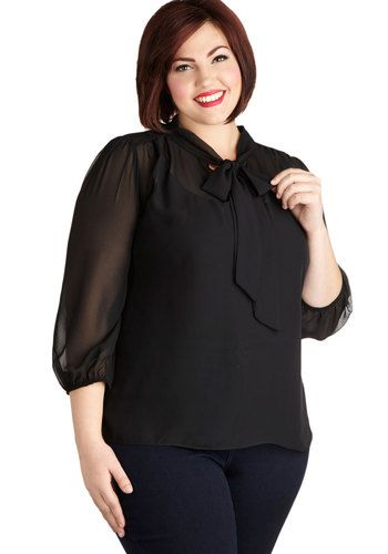 Sheer Bliss Top in Black - Plus Size - Chiffon, Sheer, Woven, Black, Solid, Tie Neck, Work, 3/4 Sleeve