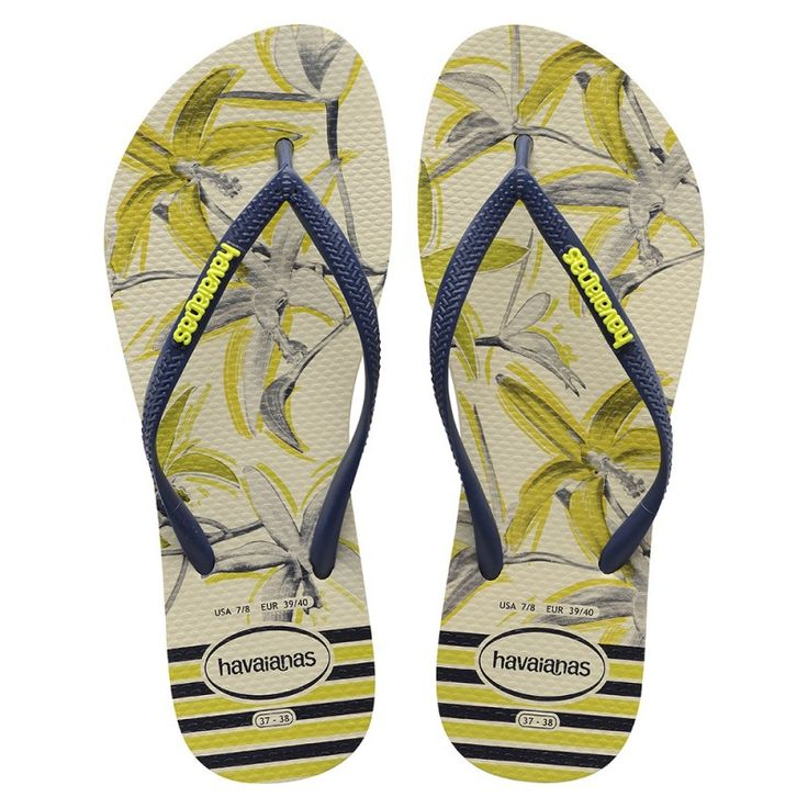 Havaianas Slim Tropical Beige/Navy Blue Flip Flop  Price From: 24,56$CA