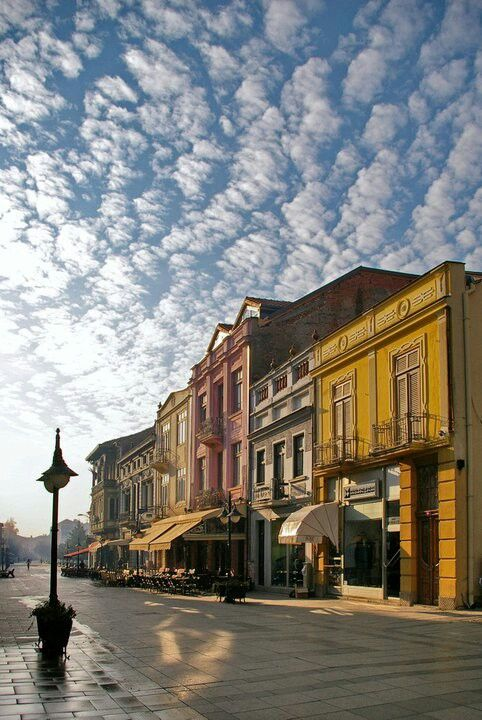 Neoclassical old town houses in Bitola, Macedonia republic