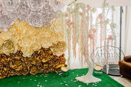 Декоративное дерево пожеланий с цветами Глицинии на свадьбу