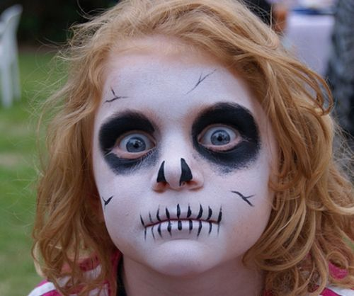 25 Artistic Halloween Face Painting Ideas for Kids...... Could do the skeleton for Laycie and she can wear her skeleton pjs! Costume done and dusted!