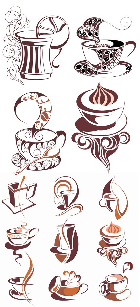 Set of 13 Coffee Cup Icon Vector Graphics