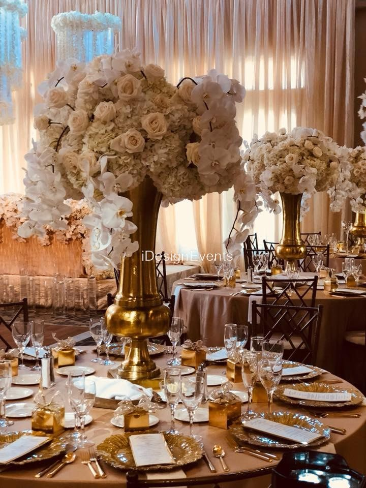 Ivory Large Hydrangea white roses, all white centerpiece on a lager