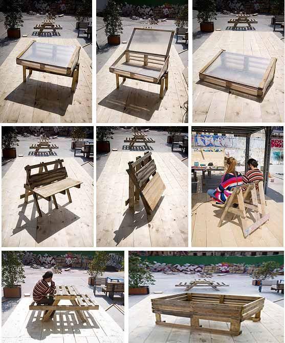 Planos para construir muebles reutilizando palés