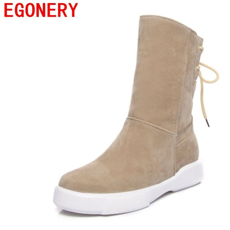 EGONERY women snow boots 2017 winter new style casual shoes warm plush inside low heel outside fashion mid calf boots for ladies