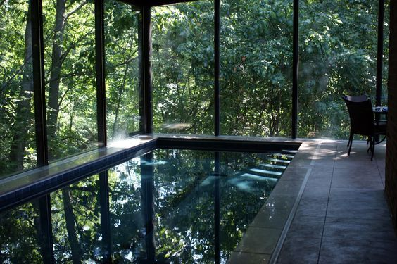 Indoor lap pool.   Maybe I should pin this in my dream house! Love how it looks like it's outdoors.: