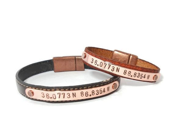 Copper and Leather Personalized Bracelet, 7th Anniversary Gift, Latitude and Longitude, Custom Leather Stamped Bracelet, Coordinate Bracelet
