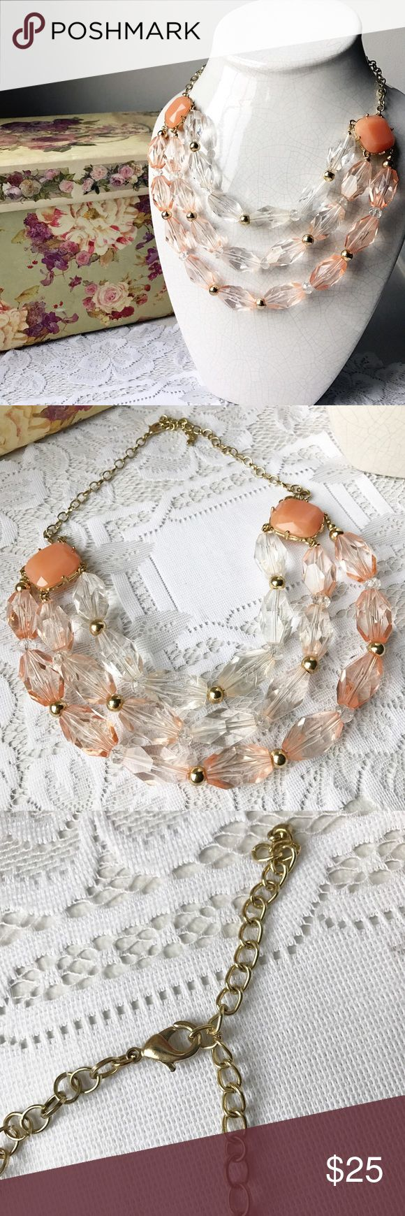 Peach Crystal Necklace Gorgeous multi strand crystal necklace with a lobster clasp Jewelry Necklaces