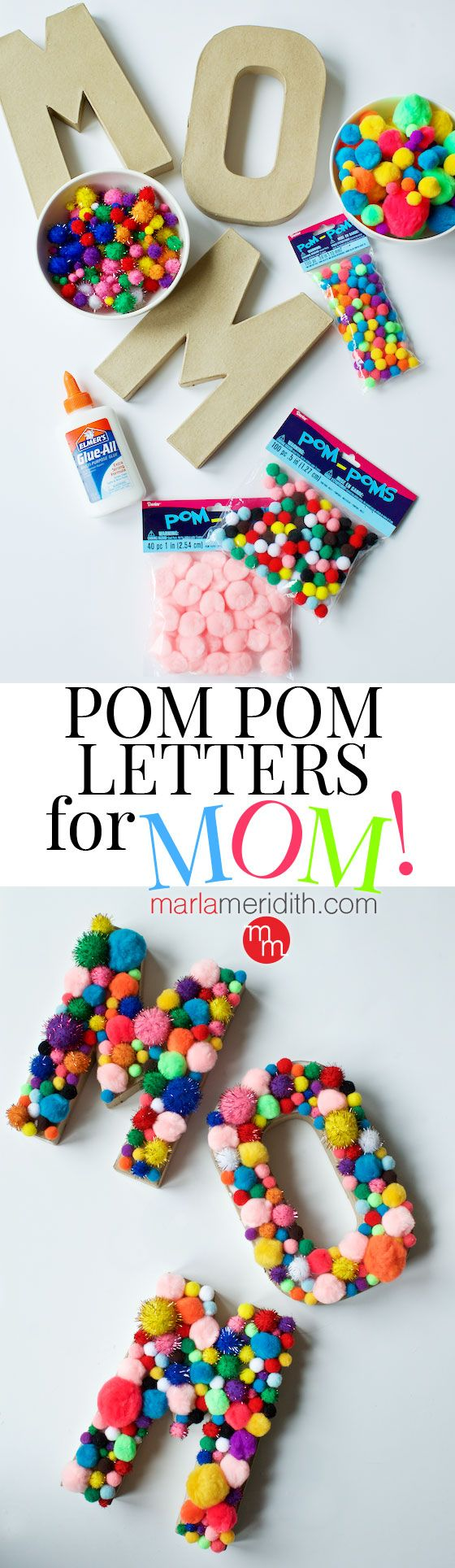 DIY Pom Pom Letters for MOM! A fun craft to make for Mother's Day | MarlaMeridith.com ( @marlameridith )