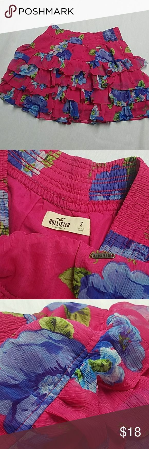Hollister Skirt Adorable Layered Mini Skirt From Hollister Size S small Fusia with Blue flowers Banded Waist  NEW W/OUT TAGS Hollister Skirts Mini