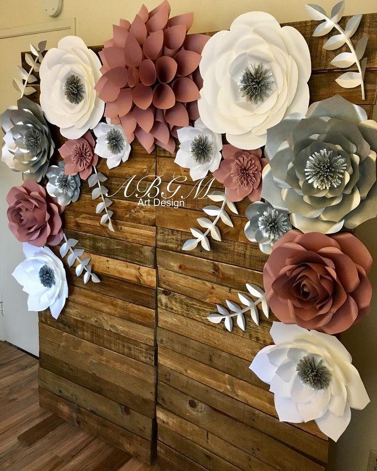 Украшение стен цветами из бумаги фото для