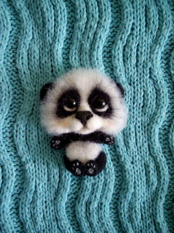felt brooch panda handmade brooch animal brooch by FeltPositive