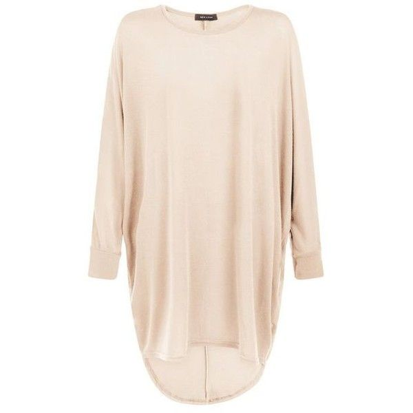 Camel Fine Knit Oversized Batwing Top ($11) ❤ liked on Polyvore featuring tops, oversized tops, pink top, batwing top and camel top