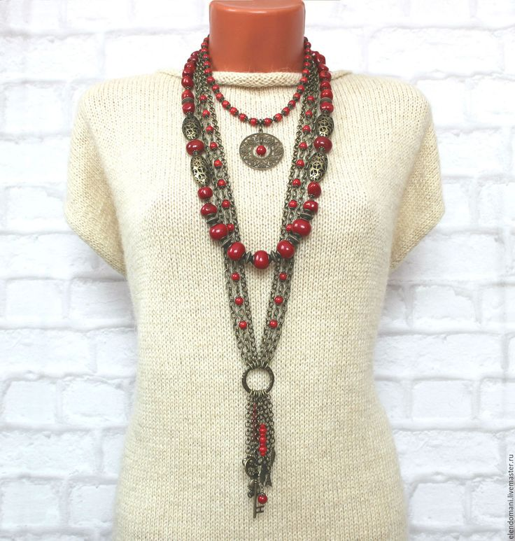 """Купить Колье """"МИЛЕДИ"""" - ярко-красный, стильные штучки, авторские украшения, бохо стиль, бохо"""