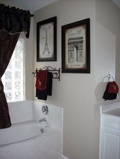 another idea for paris themed half bath black and white paris with hint of red