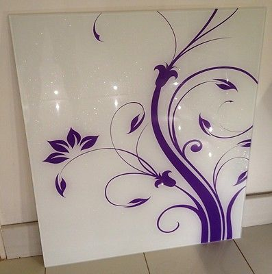 NEW RANGE JUST IN. White Glass Splashback 60cmx75cm with Purple Natola pattern