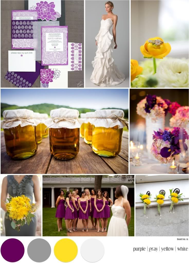 board no. 19: purple, gray, yellow and white   landlocked bride®   midwest + mountain west wedding inspiration