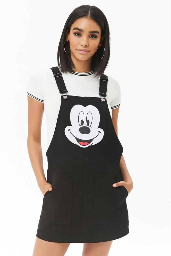 Nwt Disney Mickey Mouse Black Denim Bib Overall Dress Women S World