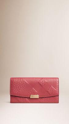 Rose pivoine Portefeuille continental en cuir à motif check estampé Rose Pivoine - Image 1