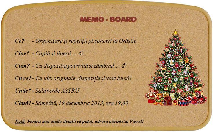 Memo - Anunț - Organizare și repetiții pt.concert la Orăștie