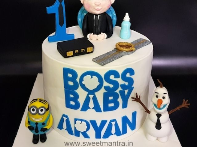 Boss Baby Theme Customized Fondant Cake For Boy S 1st Birthday In Pune Boss Baby Baby Birthday Invitations Themed Cakes