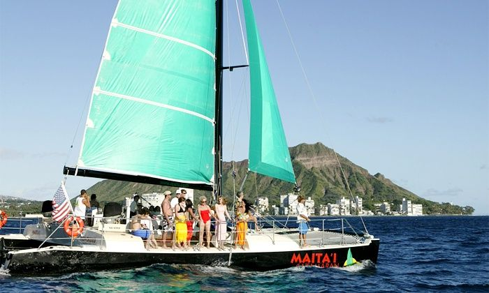 Maita`i Catamaran - Beach at Sheraton Waikiki Hotel: Catamaran TradeWind Sailing Trip for Two, Four, or Six from Maita`i Catamaran (Up to 46% Off)
