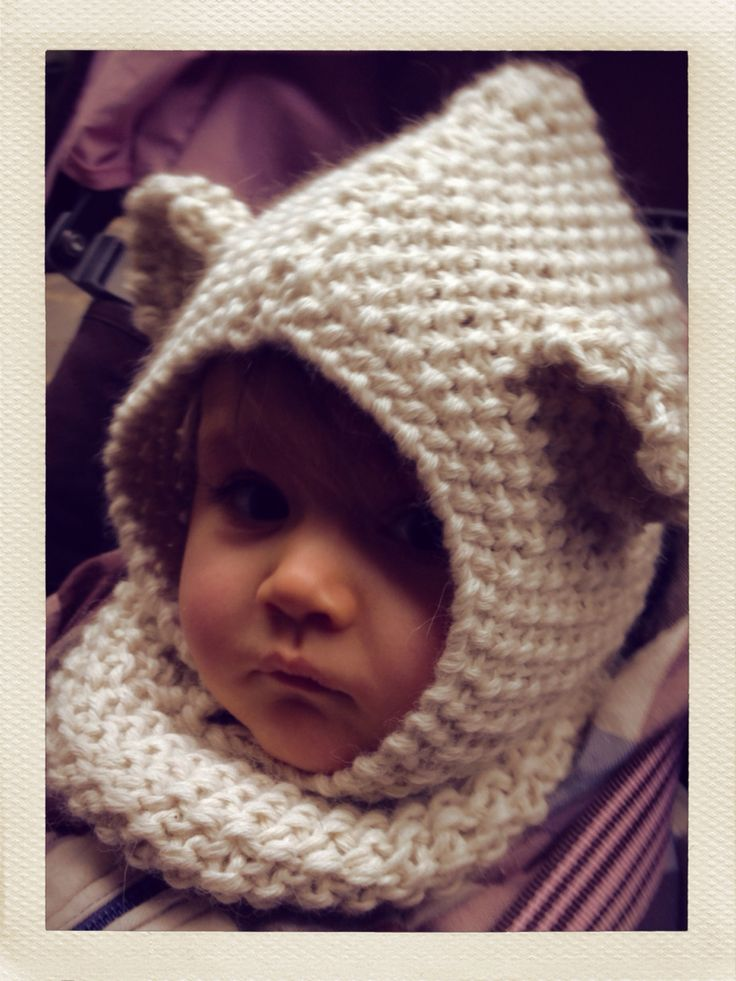 Cagoule mini ours en Baby alpaga, tricot