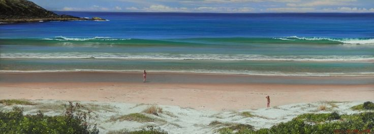 Treachery Beach with girls by Rod Bathgate.  'The Galleries Masters'   Rod is arguably in the top 5 of Australia's best pastel artists. Steve's sculptures capture the viewer's attention because they are foremost colourful. Browse & buy here: http://goo.gl/Zxnvm1 #art #australianart #chg