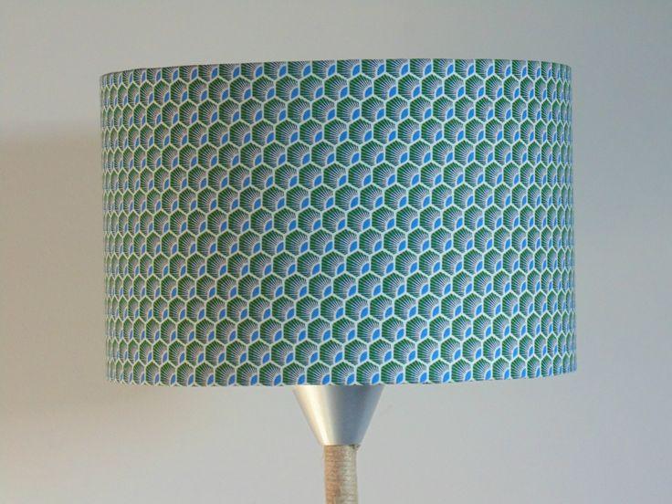 Abat-Jour cylindre motif plumes - vert/bleu - géométrique - rond 28cm