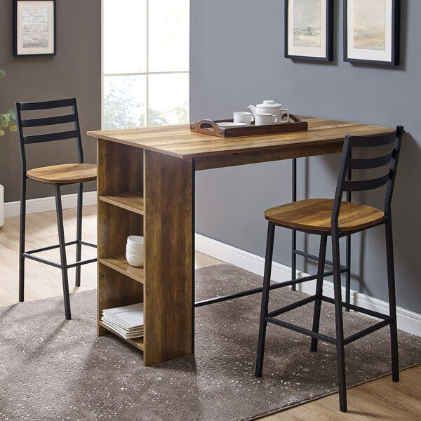 Garcia 3 Piece Counter Height Drop Leaf Dining Set Kitchen Bar Table Bar Dining Table High Top Table Kitchen