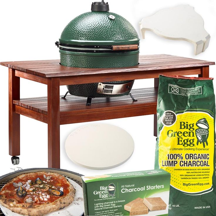 Big Green Egg XL, underredet Nest-stativ med hjul, 2 hopfällbara sidobord, värmesköld i keramik som ger egenskaper som en ugn. Flat Baking Stone för brödbak, påse med organiskt grillkol samt förpackning med tändblock.
