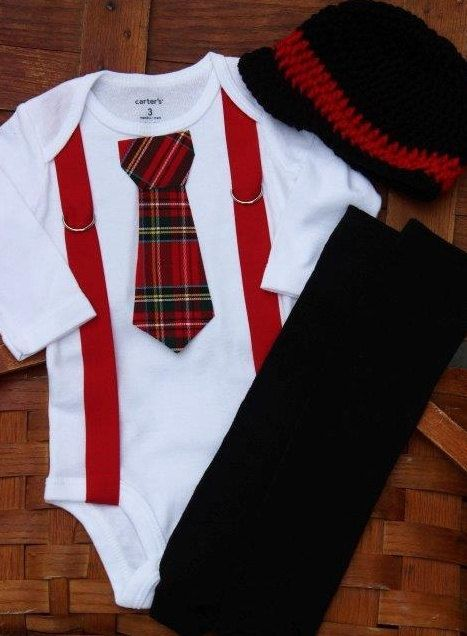Christmas Onesie with Plaid Tie and Suspenders by SewAdorbs