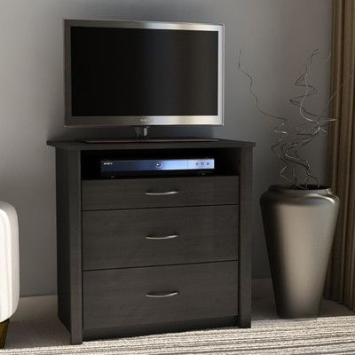 Andover Mills Constance 3 Drawer Media Dresser Finish: Black Ebony Ash