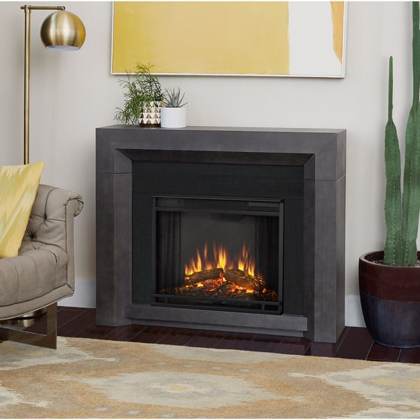 Real Flame Hughes Grey Electric Fireplace