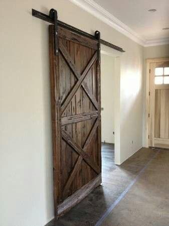 Hanging barn bedroom door for the home pinterest for Hanging barn door in house