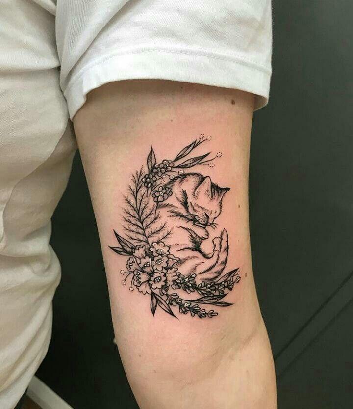 Cat And Flowers Tattoo Ideas Flower Tattoos Tattoos Cat Tattoo Designs