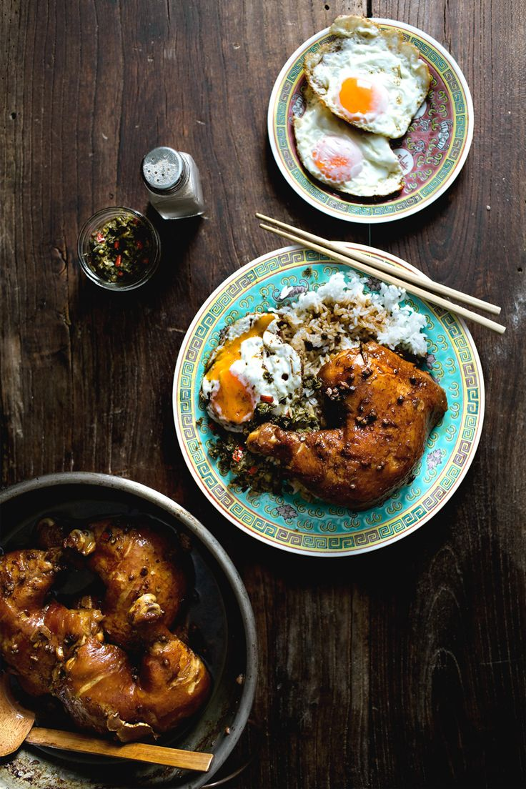 MAMA'S BRAISED CHICKEN LEGS ON RICE W/ FRIED CHILI CAPERS // LADY AND PUPS