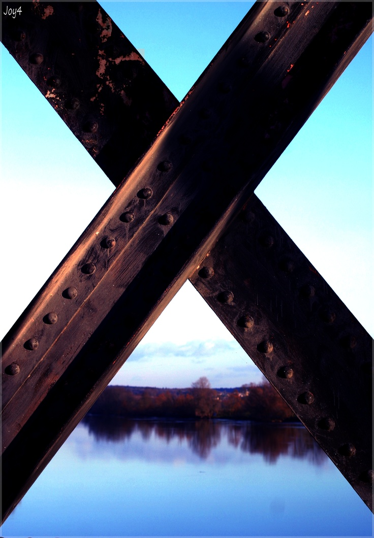 Ile Bouchard, Loire vus du pont, ligne de chemin de fer.