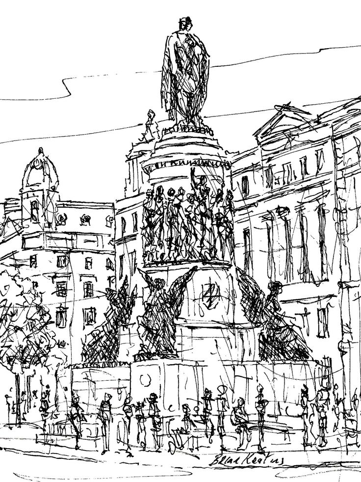FINEARTSEEN - View O'Connell Street, Dublin by Brian Keating. A black and white original ink drawing of the city of Dublin. Available on FineArtSeen - The Home Of Original Art. Enjoy Free Delivery with every order. << Pin For Later >>