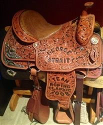 GEORGE STRAIT TEAM ROPING SADDLE!!!  For Sale on www.KeydUpRodeo.com