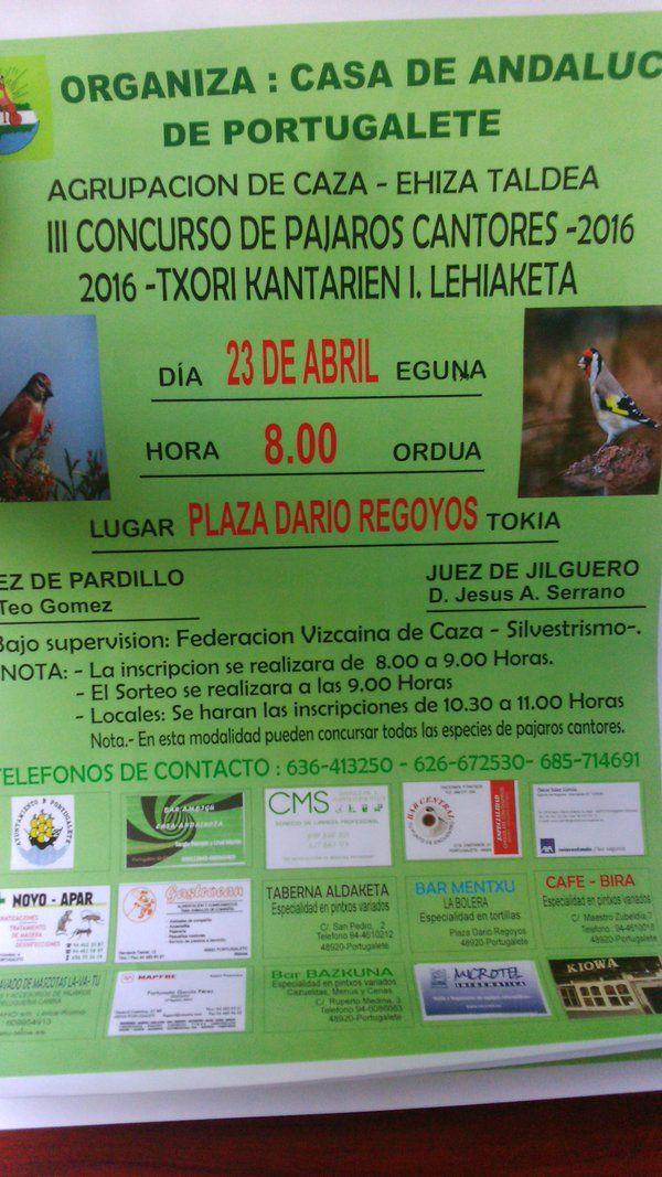 III Concurso de Pájaros Cantores de portugalete #cms #limpiezas #pajaroscantores #silvestrismo #portugalete