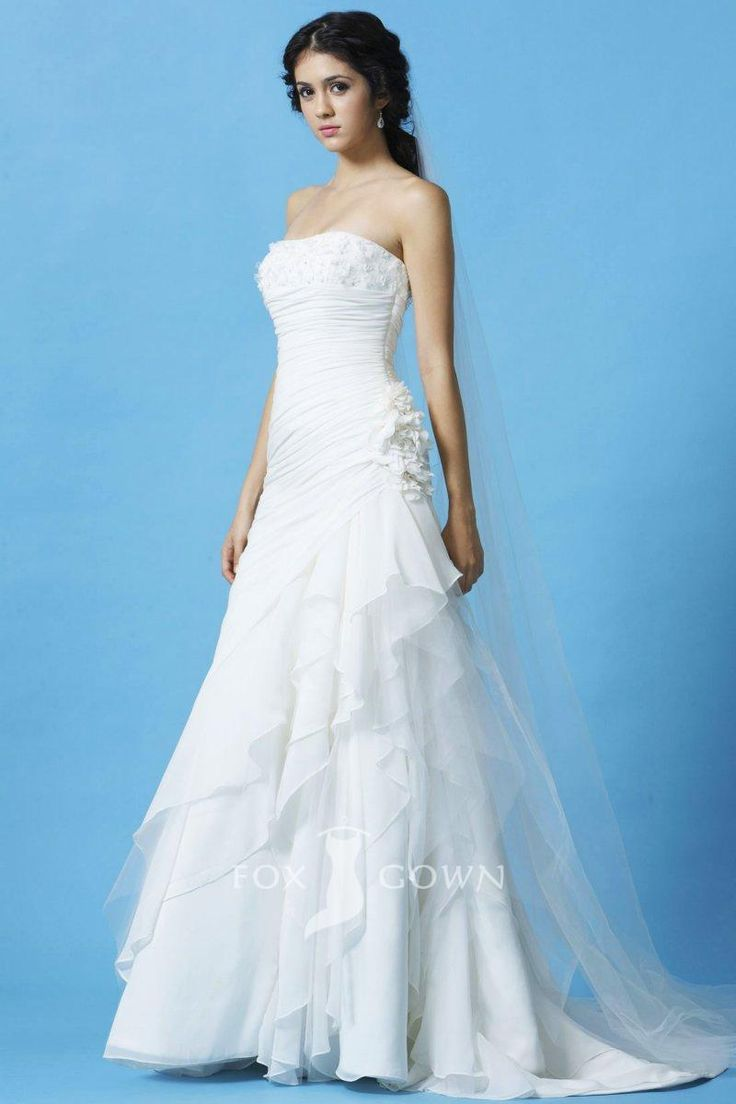 Strapless A Line Ruched Bodice Asymmetrical Layered Ruffle