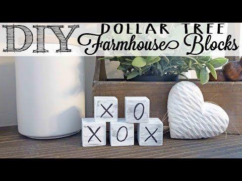 Diy Farmhouse Blocks Dollar Tree Hack Youtube With Images Diy Dollar Tree Decor Dollar Tree Decor Dollar Tree Hacks